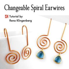 Changeable Spiral Earwires - wire jewelry tutorial by Rena Klingenberg  - featured on Jewelry Making Journal