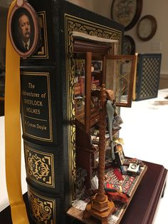 Adventures of Sherlock Holmes altered book by Dawn Morehead Miniature Rooms, Miniature Crafts, Miniature Houses, Book Crafts, Fun Crafts, Altered Book Art, Book Sculpture, Fairy Doors, Mini Things