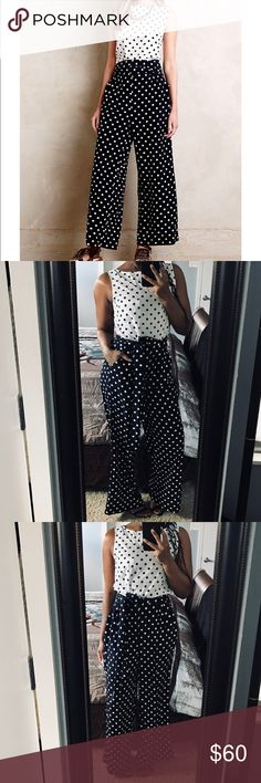 "Anthropologie Polka Dot Jumpsuit!! Woven polyester. Slim bodice with wide-leg pant. Belt not removable. Side pockets. Back zip. Regular: 29"" inseam. Petite: 27.5"" inseam. Gently used!! Anthropologie Pants Jumpsuits & Rompers"