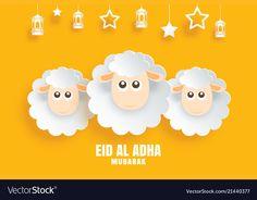 Eid al adha mubarak celebration card with sheep vector image on VectorStock Eid Mubarak Status, Eid Adha Mubarak, Eid Al Adha, Eid Images, Paw Patrol Decorations, Sheep Vector, Eid Crafts, Islamic Cartoon, Print Advertising
