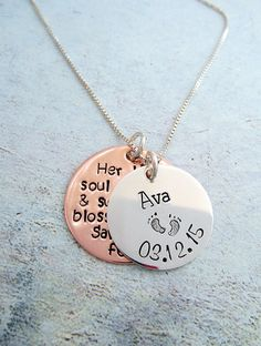 This necklace is small and can be worn daily without being too flashy. This necklace is a wonderful piece that can bring comfort to anyone who has experienced the loss of a child or stillbirth.     -The small sterling silver disc measures 3/4 of an inch. The sterling disc is personalized with the name of your child, and has babies feet stamped in the center or you can substitute a heart or cross. The bottom of the disc is personalized with one date, or you can have two (birth and rest). The…