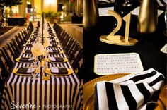 Black White Gold wedding colors. Photographs by Severine Photography