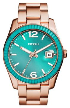 Fossil 'Perfect Boyfriend' Mirrored Bezel Color Dial Bracelet Watch, 39mm available at #Nordstrom