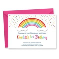 Rainbow Birthday Party Invitation Digital Printable, Rainbow Party Invite, Color Party Printable Invitation, Unicorn Rainbow Invitation