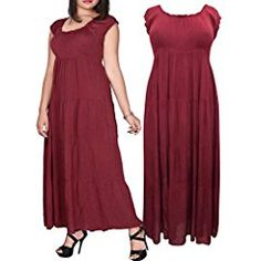 d205d24c7b2 eaonplus BURGUNDY On   Off Shoulder Gypsy Tiered Maxi Dress Plus Size 14 16  to