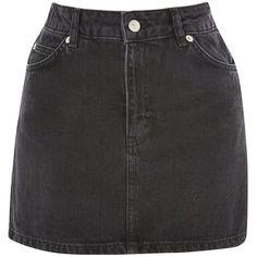 TopShop Moto Black Denim Mini Skirt (1.249.820 VND) ❤ liked on Polyvore featuring skirts, mini skirts, topshop, washed black, zipper mini skirt, zipper skirt, zip skirt, button-front denim skirts and short mini skirts