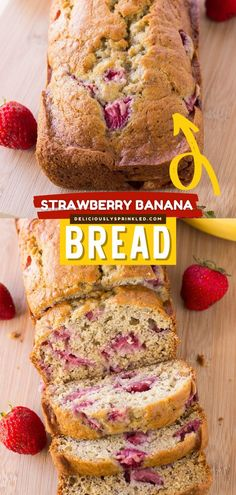 Love banana bread? Wait until you add fresh strawberries! Very moist with a big, fluffy top, this quick bread recipe is on a whole new level of deliciousness. Perfect for a tasty breakfast or brunch… Recipes With Yeast, Yeast Bread Recipes, Quick Bread Recipes, Bread Machine Recipes, Easy Bread, Muffin Recipes, Yummy Recipes, Best Homemade Bread Recipe, Homemade Banana Bread