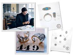 Acima, Francesca no ateliê da marca e seus braceletes preferidos sendo finalizados. À direita, croquis de seu primeiro Blue Book (Foto: Ward Ivan Rafik, Getty Images e Cortesia Tiffany)