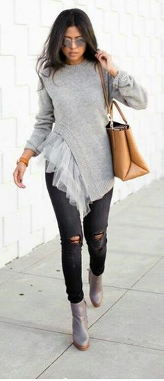 Faux Tulle Frill Sweater , Ripped Denim , Grey Heeled Boots so cute and stylish Mode Outfits, Fall Outfits, Mode Style, Style Me, Diy Kleidung, Illustration Mode, Ripped Denim, Dark Jeans, Denim Jeans