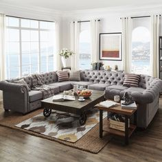 SIGNAL HILLS Knightsbridge Tufted Scroll Arm Chesterfield 10-Seat U-Shaped Sectional