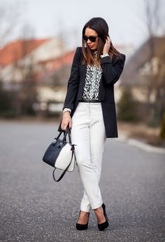 I Love Black & White With a Splash of Bright Color!  Chic Office Looks - Fashion Diva Design