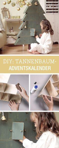 Adventskalender aus Holz selberbauen / wooden advents calendar in shape of a tree via DaWanda.com