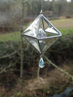 Stained Glass suncatcher 3D with crystals and by ravenglassgirl