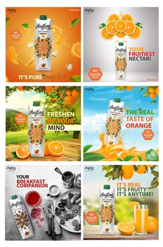 Social Media Art, Social Media Branding, Social Media Banner, Food Graphic Design, Food Poster Design, Food Design, Orange Juice Brands, Creative Brief Template, Juice Menu