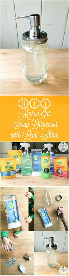 DIY Mason Jar Soap Dispenser with Lemi Shine - You only need 3 materials to complete this simple and resourceful DIY Mason Jar Soap Dispenser. I am sharing my review of the Lemi Shine products that I tried and coupons for several Lemi Shine products too! #ad #SpringtimeCleantime #CleanFreakClean