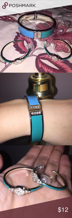 EUC | Bracelet & Earrings Set 🌼Coordinating hinge bangle bracelet & hoop earrings set                                      🌼Blue, green & silver w/ rhinestones                                           🌼Excellent used condition, Only worn a couple times                                Questions? Just ask!  BUNDLE & SAVE: 15% OFF 2+ ITEMS! Jewelry Bracelets