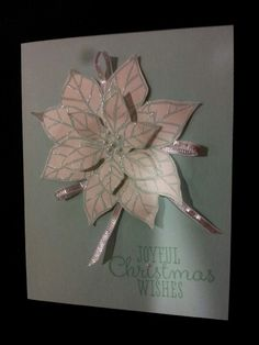 Joyful Christmas  su, pool party Comstock, pool party embossing powder, shimmery white Comstock, basic pearls and silver playoffs ribbon, coastal cabana ink pad.  Fast and easy. Christmas Paper Crafts, Christmas Cards, Embossing Powder, Cabana, Joyful, Blue And Silver, Stamping, Coastal, Ribbon