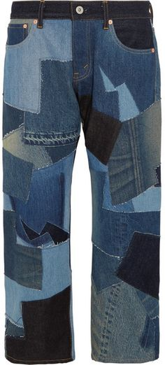 Junya Watanabe - Cropped Leather-trimmed Patchwork Boyfriend Jeans - Blue