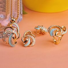 Blucome Delicate Enamel Flowers Party Jewelry Sets Necklace Earrings Ring Collar aretes anillos Gold Plated Ensemble de Bijoux