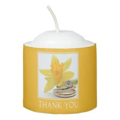 Yellow daffodil Wedding Favor Votive Candle