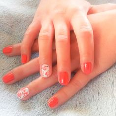 nails, short nails, red, white, flowers