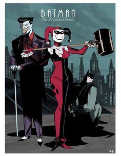 Batman The Animated Series: Joker, Harley Quinn and Batman Bruce Timm, Batgirl, Catwoman, Univers Dc, Superhero Villains, Batman The Animated Series, Im Batman, Batman Stuff, Joker Art