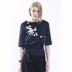 COLE COOL Navy Blue Silk and Satin Top with White Leather Sakura Blossom #COLECOOL #CropTop #Casual