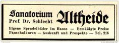 Original-Werbung/ Anzeige 1935 - SANATORIUM ALTHEIDE - ca. 65 x 25 mm