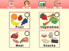 Talk About Food ($4.49)  developed to target vision, vocabulary building and communication skills. It has been designed specifically for children with low vision as well as those who are having difficulty with language development, or just starting to learn and use words.