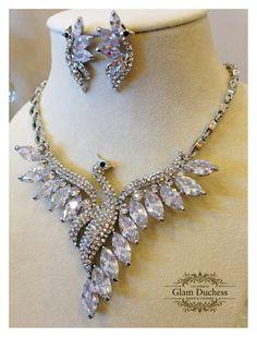 Wedding jewelry set Bridal jewelry Bridal necklace by GlamDuchess