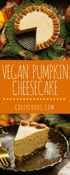 Raw Vegan Pumpkin Cheesecake Easy and insanely delicious VEGAN pumpkin spice cheesecake Made from cashews coconut pumpkin and love As good as the real thing Healthy Vegan Dessert, Cake Vegan, Raw Vegan Desserts, Raw Vegan Recipes, Vegan Dessert Recipes, Vegan Sweets, Healthy Recipes, Vegan Christmas Desserts, Vegan Raw