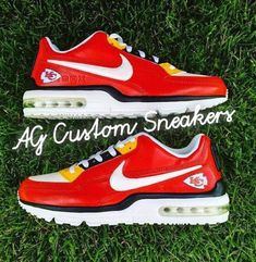 Custom Kansas City Chiefs Air Max Sneaker by AGcustomSneakers Kansas City Chiefs Football, Kc Football, Football Season, Baseball, Air Max Sneakers, Sneakers Nike, Nike Shoes, Make Your Own, How To Make