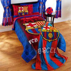Barcelona 'FCB Soccer' Bedding Sheet Set Kids Comforter Sets, Queen Bedding Sets, Kids Blankets, Kids Pillows, Football Bedding, Soccer Room, Kids Sheets, Kids Sleeping Bags, Kids Canopy