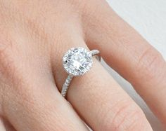 Thin Halo Engagement Ring Solitaire Engagement Ring by barargent