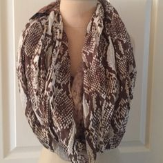 Express Snakeskin Metallic Infinity Scarf Infinity scarf with two different fabrics. One is a snake skin and the other is metallic snake skin. Express Accessories Scarves & Wraps