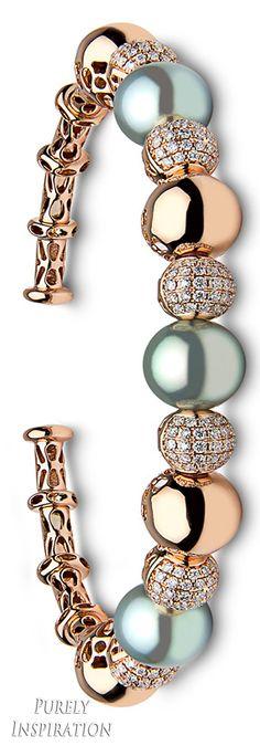 Yoko London Blue Rose Bracelet 18k rose gold, diamonds, golden Tahitian pearls | Purely Inspiratio