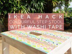 ikea step stool hack with washi tape