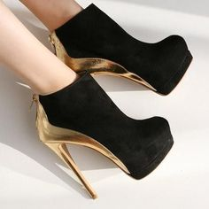 Lovely Black And Gold Bootie Stiletto High Heels #blackstilettoheels