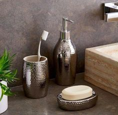 15. You can find a matching tooth brush holder, soap dish, and soap dispenser at the Container Store or on Amazon.