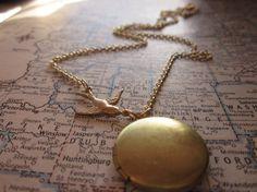 The Julia Necklace  Vintage Brass Locket Necklace by SeizeTheNight, $15.00