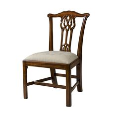 """A mahogany side chair after Chippendale, serpentine toprail, pierced vase splat, upholstered drop in seat, square chamfered legs and stretchers. The original George III. 37"""" H, 22.5"""" W, 23.25"""" D Must"""