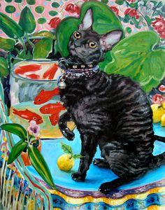 "Cornish Rex Kitty Cat ala Matisse, custom Pet Portrait Oil Painting by puci, 16x20"""