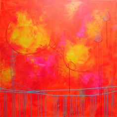 pink orange abstract painting large painting  by ElenasArtStudio, $349.00