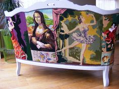 patchwork upholstery from needlepoint
