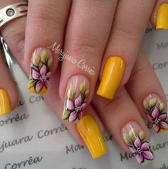 To keep your nails breathing, do not keep the nail polish for more than days. We have collected the most trend 2019 nail designs for you. These nail models will fit you very well. We recommend that you apply one of these latest nail designs. Flower Nail Designs, Colorful Nail Designs, Cool Nail Designs, Spring Nails, Summer Nails, Cute Nails, My Nails, Latest Nail Designs, Nail Art Kit