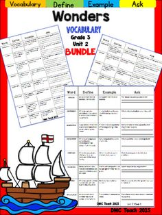 This 3rd grade Vocabulary Routine is aligned toMcGraw Hill Wonders for Grade 3, Unit 2 (Weeks 1-5) It contains all vocabulary words, definitions, examples, and a question for students to respond.This is a great way to reinforce weekly vocabulary words for homework or during independent centers.
