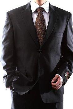 MENS SINGLE BREASTED 2 BUTTON BLACK DRESS SUIT SIZE 42L PL-60212N-201-BLK