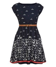 Another great find on #zulily! Navy Belted Dove A-Line Dress by Iska London #zulilyfinds