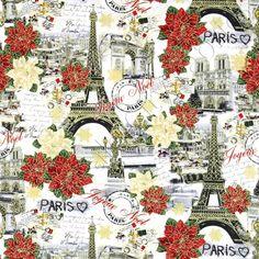 April in Paris Joyeux Noel Collage Multi Gold Metallic by Timeless Treasures Fabrics, @sewtimeless. 100% cotton. Christmas in Paris! Poinsettias and the Eiffel Tower.