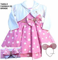 vestido minnie rosa luxo festa infantil com bolero e tiara